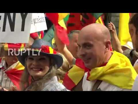 Spain: Catalonia's far-right rally for unity of Spain