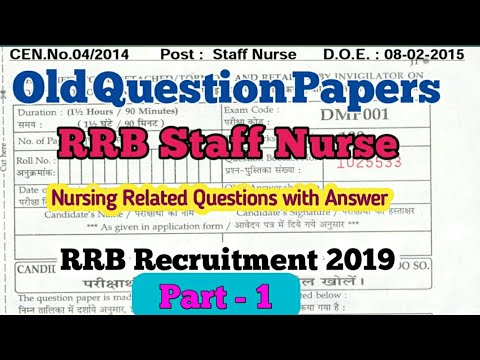 RRB Staff Nurse Old Question Paper and Answer Key   part-1   RRB  Recruitment 2019   RRB Secunderabad
