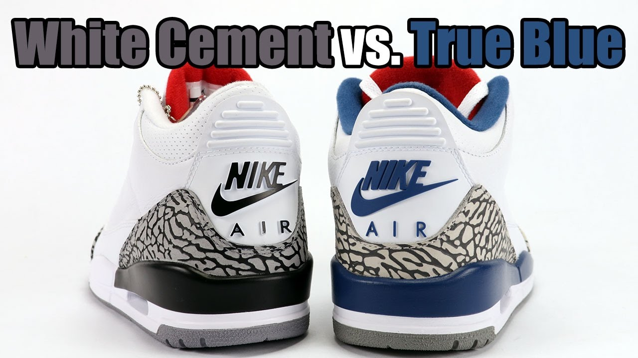 True Blue vs White Cement Nike Air Jordan 3 Comparison