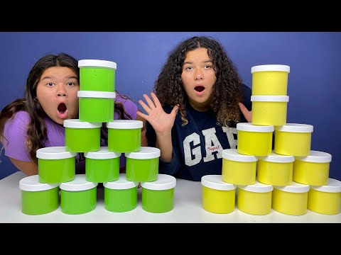 Download FIX THIS 50 POUND BUCKET OF STORE BOUGHT SLIME CHALLENGE!! GREEN VS YELLOW