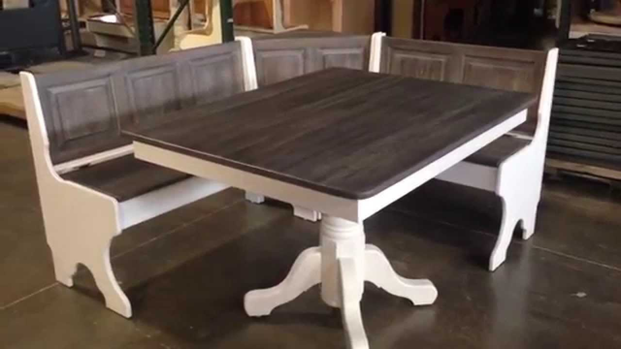 Amish Pedestal Table Traditional Corner Nook Set Youtube