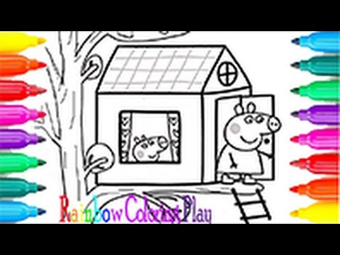 The Tree House Peppa Pig Coloring Book Pages with Colored Markers ...