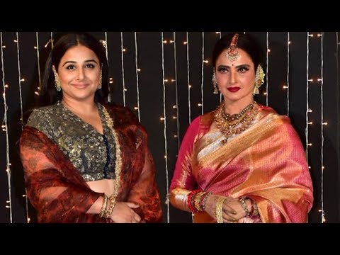 Gorgeous Vidya Balan And Her Idol Rekha At Priyanka Chopra Nick Jonas Mumbai Reception 2018