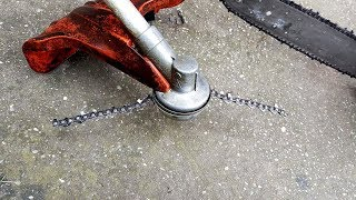 Homemade Chain for TRIMMER?  !!!!!   JUST EXPERIMENT   !!!!! + TEST  (DONT TRY THIS AT HOME)