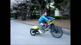 おばちゃん三輪車とマウンテンバイクを合体させてオリジナルチャリが完成。
