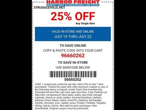 photograph regarding Harbor Freight 25 Off Coupon Printable named Harbor Freight 25% Off Coupon A Clean Coupon Webpage!