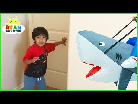 ryan-pretend-play-with-shark-inflatable-toys-hide-and-seek!!!