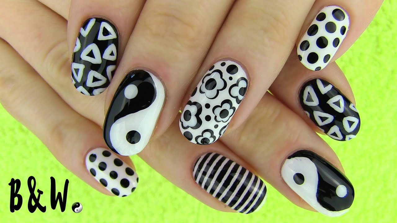 Nail art in black and white monochrome nails with missjenfabulous nail art in black and white monochrome nails with missjenfabulous youtube prinsesfo Images
