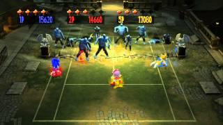 Sega Superstars Tennis (3 Player Co-op): Curien Mansion Zombies (Wave 16)