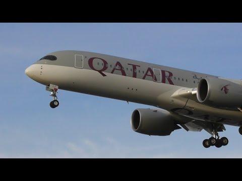 Plane Spotting at Heathrow Airport, Evening Arrivals - Inc. Qatar A350 + LOT 787