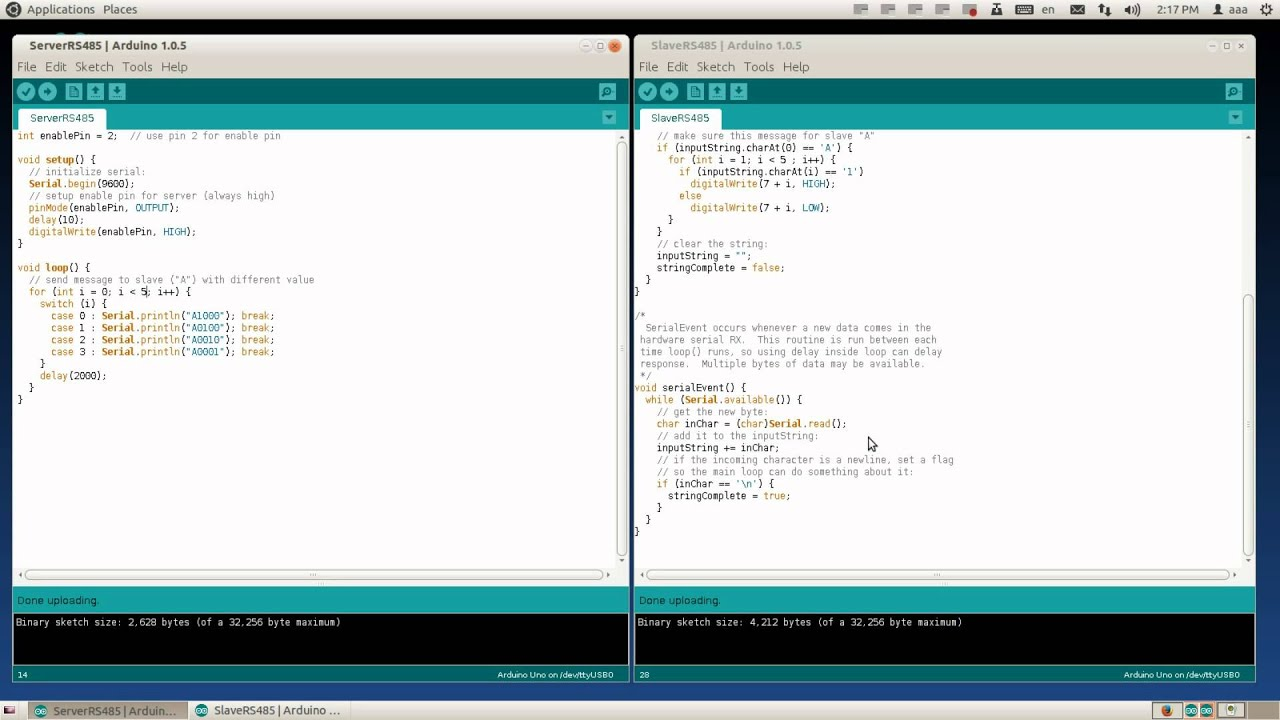 Communication between Arduino using RS485