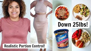 WHAT I EAT IN A DAY TO LOSE WEIGHT! Realistic Portion Control + Calorie Deficit