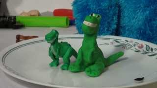 Play Doh Toy Story, Rex, the Dinosaur , how to make Rex out of Play Doh, and Cookie Monster shows up