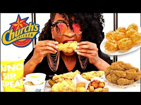 MUKBANG: MY FAVORITE FOODS FROM CHURCH'S FRIED CHICKEN! EATING SHOW! YUMMYBITESTV
