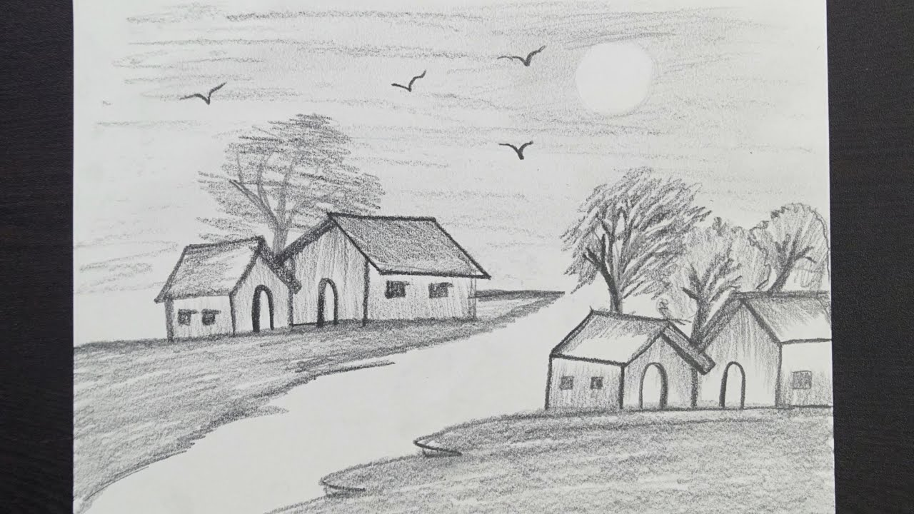 Pencil Scenery Drawing Village Scenery Drawing Nature Scenery Drawing Easy Pencil Drawing Youtube