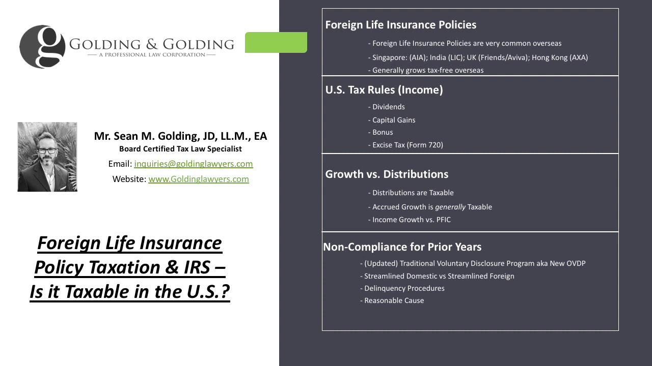 Irs Taxation Of Foreign Life Insurance Policies In The Us