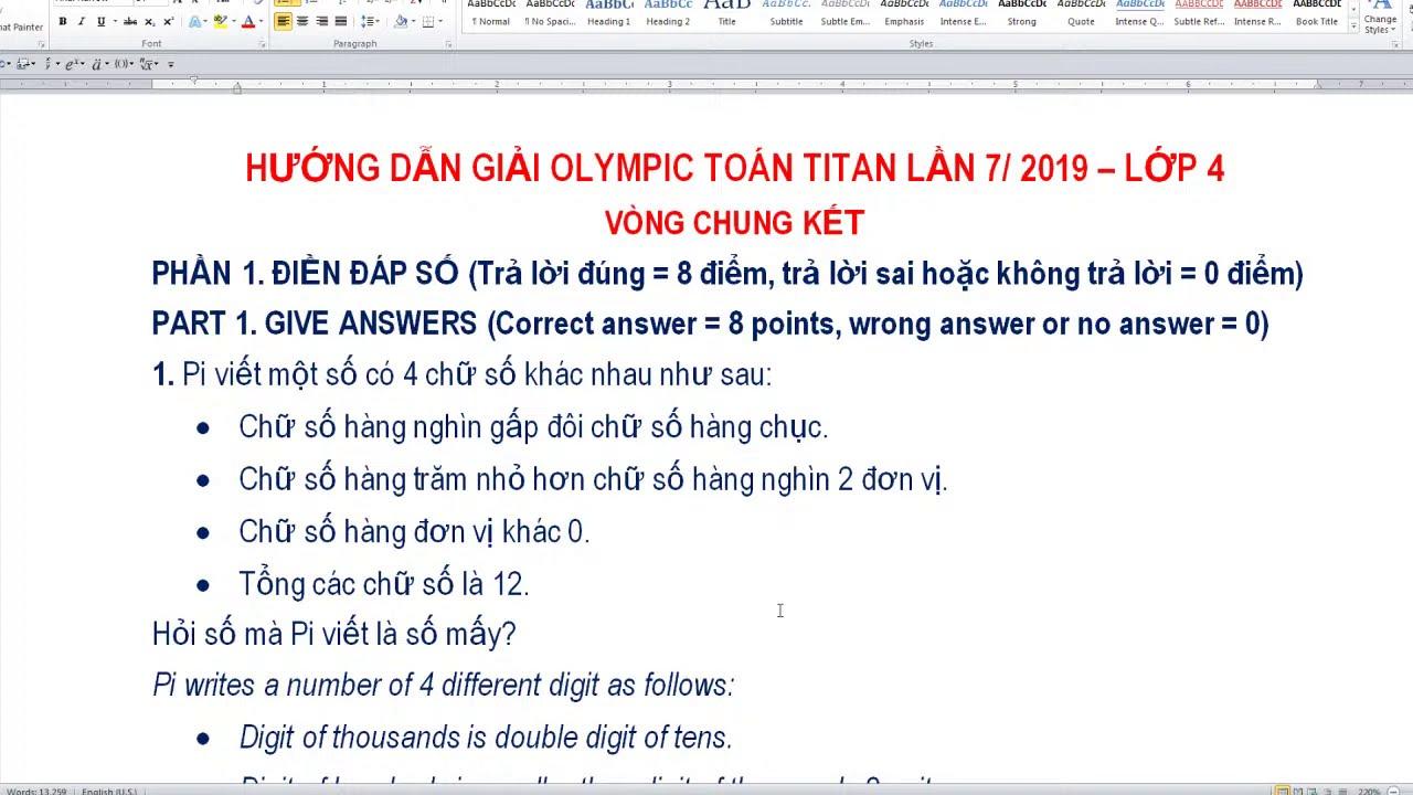 HƯỚNG DẪN GIẢI OLYMPIC TOÁN TITAN LỚP 4 NĂM 2019 (Vòng chung kết)