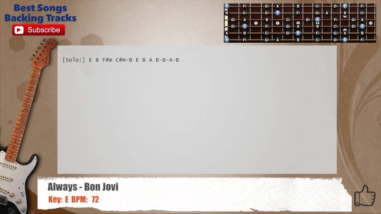 Always Bon Jovi Guitar Backing Track With Chords And Lyrics Youtube
