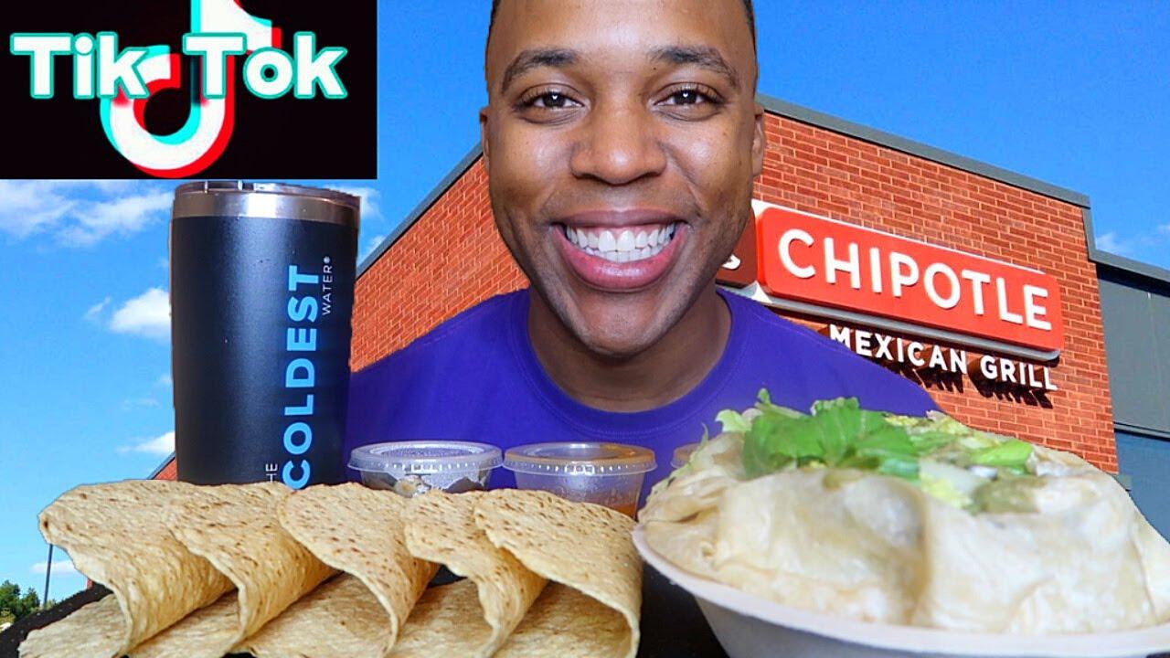 CHIPOTLE TIK TOK HACK CHALLENGE!!! HUGE BURRITO BOWL + TACOS MUKBANG 음식 쇼 EATING SHOW