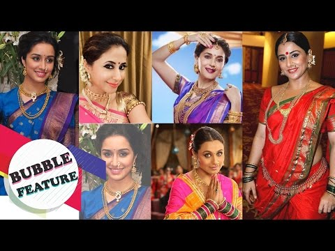 Bollywood Actresses In Nauvari Saree