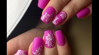 Весенний дизайн ногтей. Цветочки на ногтях. Яркий маникюр гель лаком 2017