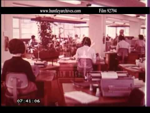 1960's typing pool in the U.K.  Archive film 92794