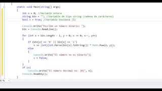 Convertir números binarios a decimales en C#