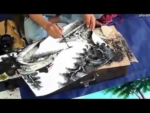 Unbelievable Chinese Street Painter!!   Super fast drawing and amazing works!