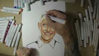 Ellen Degeneres Time Lapse Speed Drawing with Copic Markers Tutorial (watch in HD)