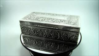 Antique Indian Silver Cigarette Cigar Box Case Embossed Foliate Decoration 8