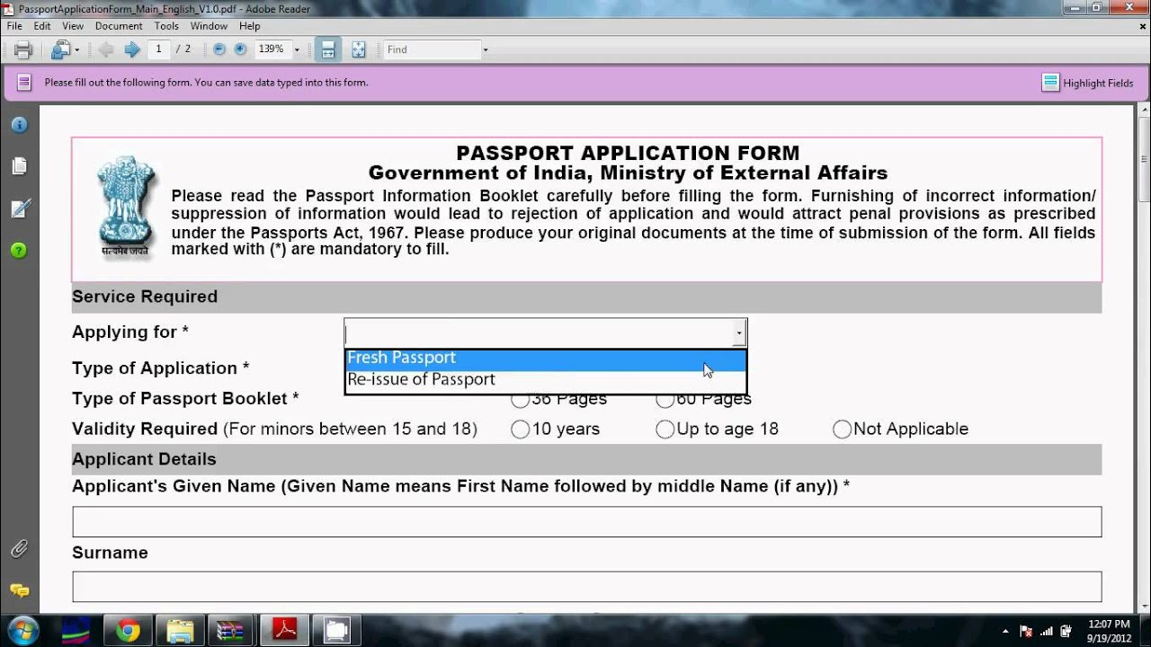 Online Application Submission For Passport