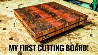 Walnut, Purple Heart and Tiger Wood End Grain Cutting Board [Build]