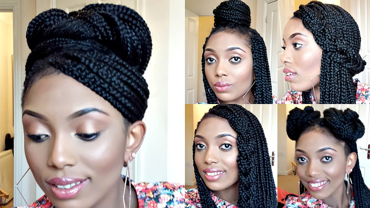 Styling Box Braids/ 6 Simple And Elegant Styles - YouTube