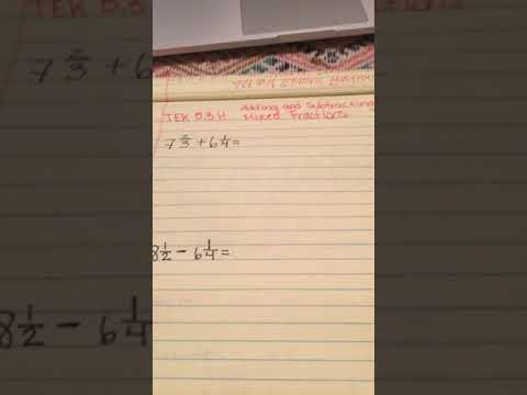 TEK 5.3 H Adding and Subtracting Mixed Fractions