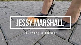Crushing a burger under my black high heels