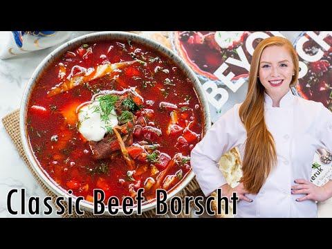 The BEST Classic Beef Borscht Recipe (Борщ) - Ukrainian Beet Soup W/ Beef! Family Recipe!!