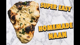 Insanely Easy Skillet Garlic Butter Naan Bread (no bake)