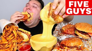 Five Guys With Cheese Sauce • MUKBANG