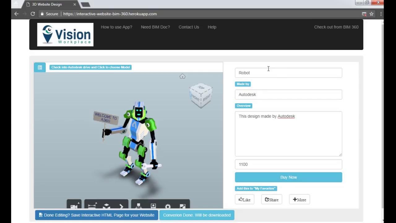 Publish 3D model to website