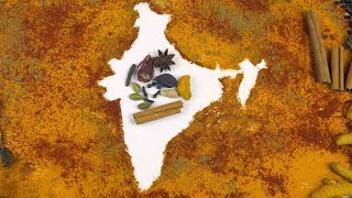 Pan shot of Indian spices designed as the map of India on white background