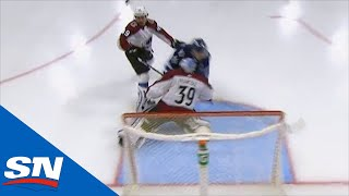 Pavel Francouz Looks To Be Out Cold After Mark Scheifele Runs Into Avalanche's Netminder