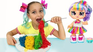 Funny Kid cook Food and play with doll