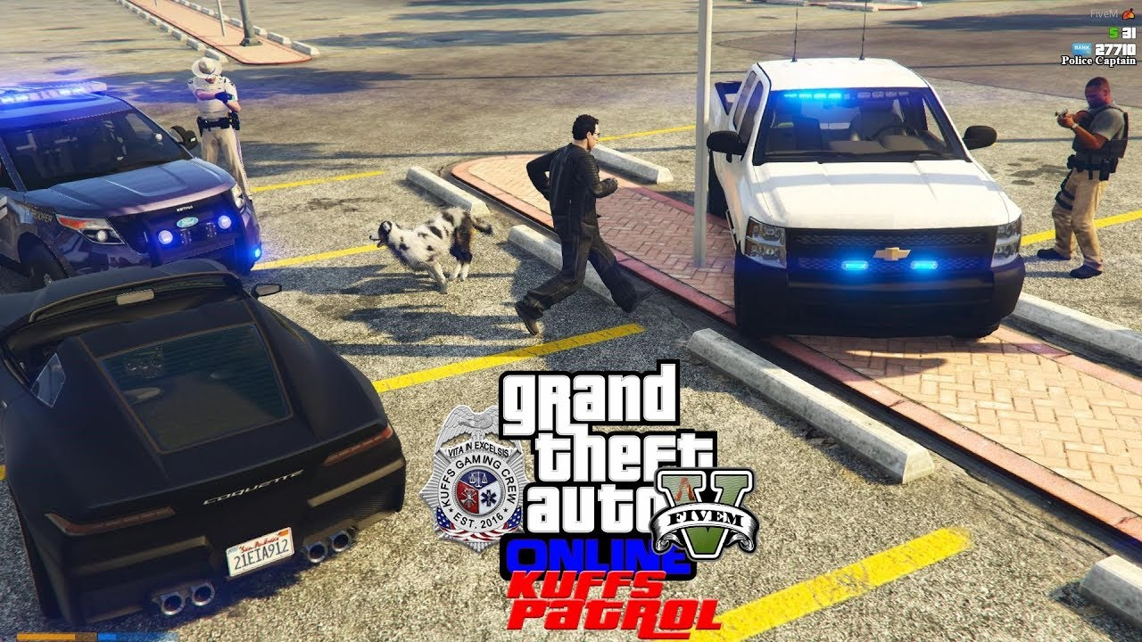 GTA 5 Police Mod KUFFS vRP FiveM #322 - Dog & Owner Steals A Bait Car