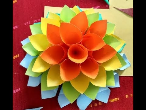 Making Wall Decorative Colored Hanging Paper Flowers At