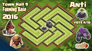 Clash of Clans (Coc) TOP 3 Th9 Best Farming base 2016. Dark Elixir Base & Build + Replay.