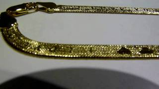 """$45 LADIES Lab Made 20"""" GOLD """"❤ I LOVE YOU ❤"""" Herringbone flat chain/necklace! Hip-hop jewelry!!"""