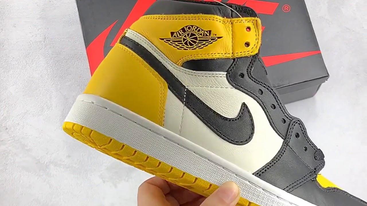 f97bd439308551 Air Jordan 1 Yellow Toe AR1020-700 Review - YouTube