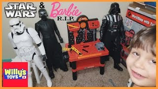 Workshop with Tool Set Review with Crazy Kid Attacking Darth Vader and Barbie Doll - Willy