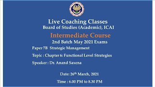 Intermediate Paper 7B: SM - Topic: Ch-6: Functional Level Strategies,Evening session Date:26-03-2021