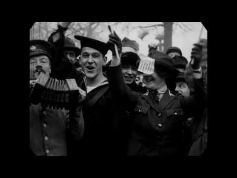 Nov 11, 1918 - Scenes in Paris, France on Armistice Day (speed corrected w/ added sound)